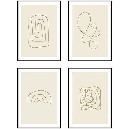 Abstract Line Art Print - Set of 4 Prints