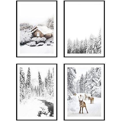 Snowy Winter Print - Set of 4 Prints