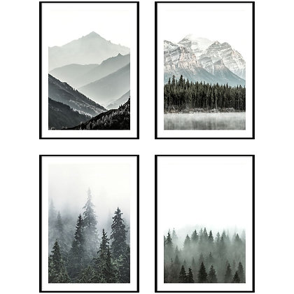 Misty Forest & Mountain Print - Set of 4 Prints