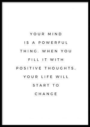 Mind Print - Buddha Quote Print, Scandinavian Art