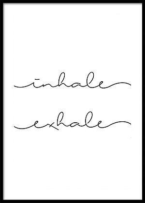 Inhale Exhale Print - Yoga Poster, Typography Print