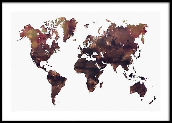 Brown World Map Print - Watercolour Print