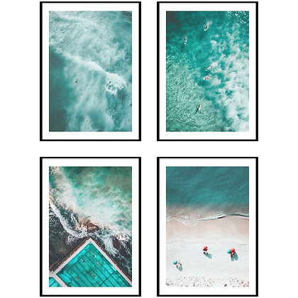 Turquoise Ocean Print - Set of 4 Prints