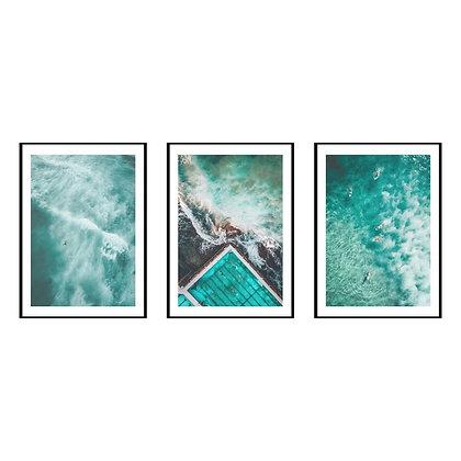 Turquoise Ocean Print - Set of 3 Prints - No.1