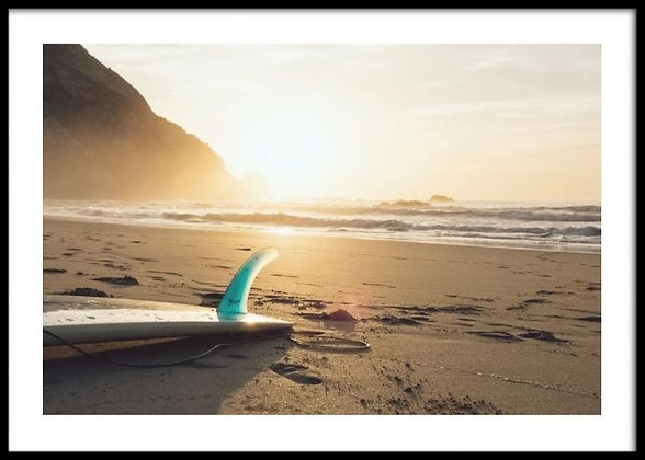Surfboard On The Beach Print - Coastal Poster