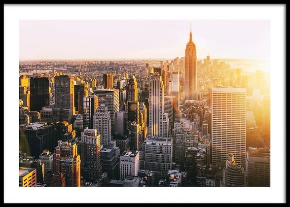 New York Sunset Print - Empire State, Manhattan Poster
