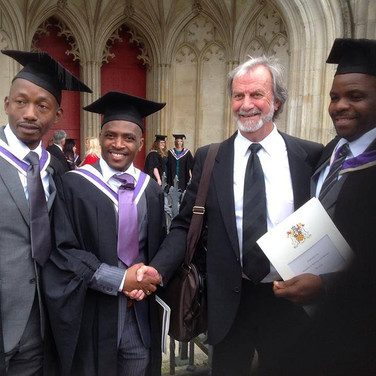 Dr. Meyer with students who graduated at Winchester Cathedral, after finishing course with Winchester University