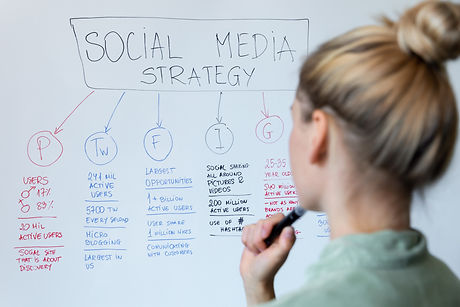 woman working on social media and influe