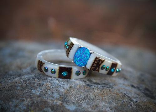 Oval blue opal set