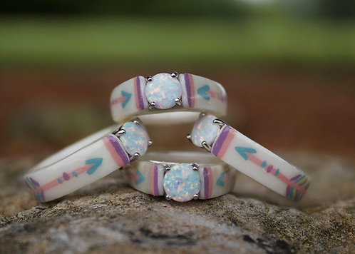 pastel white opal painted arrow ring