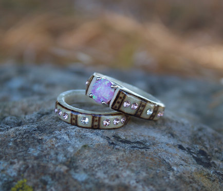 pink opal set with pink crystals