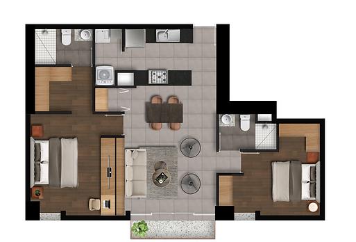 punto panamericano 2 habitaciones modelo F