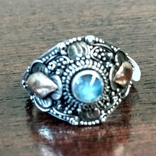 Blue Topaz Gold & Silver Ring