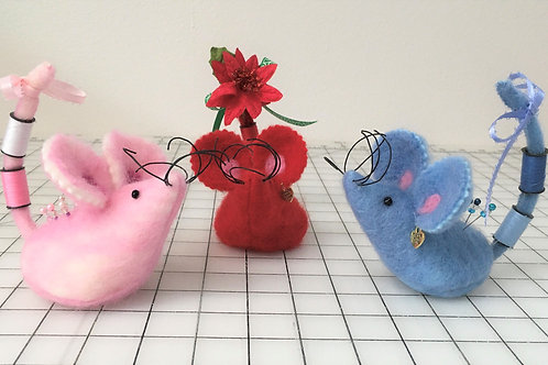 Wool Felted Mouse Pin Cushions
