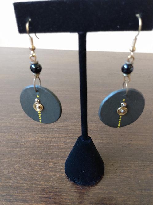Charcoal Spiral Earrings