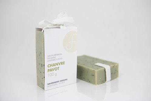 SAVON CHANVRE-PAVOT, exfoliant et hydratant