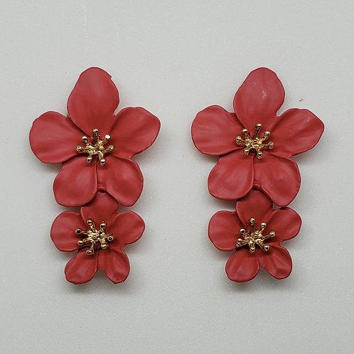 Metal Floral Earrings(Matte)