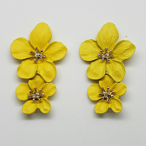 Metal Floral Earrings(Matte)
