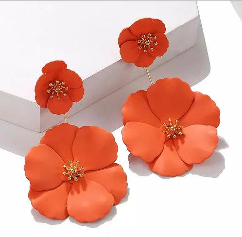Alloy Flower Drop Earrings(Matte)