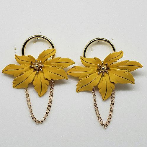 Gold Plated Flower Earring(Matte)