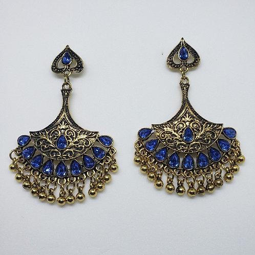 Glass Stone Oxidized Earrings