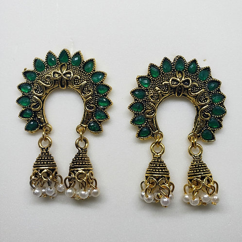 Glass Stone Oxidized Earrings