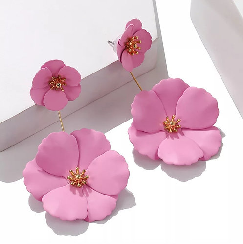 Alloy Flower Drop Earrings(Matte)