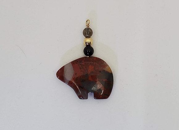 Brecciated jasper bear pendant