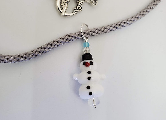 Snowman necklace - gray