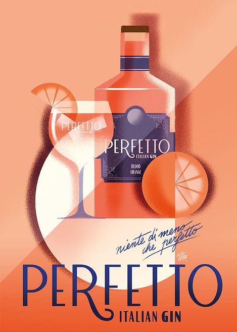Perfetto Gin branding design