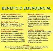 SECRETARIA DE ASSISTÊNCIA SOCIAL DIVULGA INFORMAÇÕES SOBRE BENEFICIO EMERGENCIAL