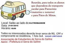 REUNIÃO PARA OS ESTUDANTES QUE UTILIZAM O TRANSPORTE PARA PATROCÍNIO E PATOS DE MINAS.