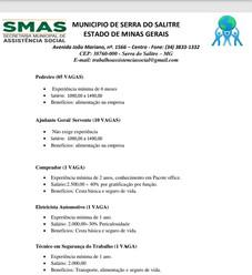 NOVAS VAGAS DE EMPREGO EM SERRA DO SALITRE - MG