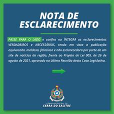 CÂMARA EMITE NOTA ESCLARECENDO APROVAÇÃO DE PROJETO  QUE DEFINE LIMITE DE DIÁRIAS DE VEREADORES