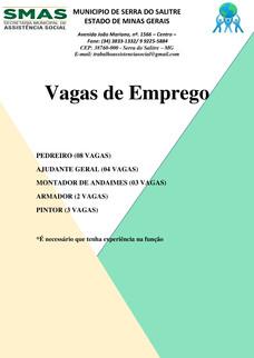 NOVAS VAGAS DE EMPREGO PARA SERRA DO SALITRE - MG