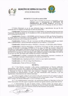 CONHEÇA AS MUDANÇAS  NO NOVO DECRETO DO MUNICÍPIO DE SERRA DO SALITRE NO ENFRENTAMENTO  AO CORONAVÍR