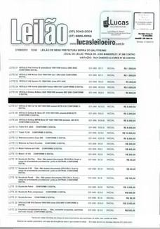 LEILÃO DE BENS DA PREFEITURA DE SERRA DO SALITRE/MG