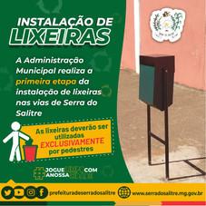 ETAPA DE INSTALAÇÃO DE LIXEIRAS PÚBLICAS EM SERRA DO SALITRE REFORÇA A CONSCIENTIZAÇÃO  DE LIMPEZA E