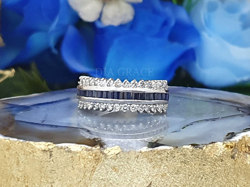 Blue Charm Band Diamond Ring For Women
