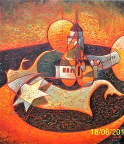 Kız Kulesinde Grup, 2011, TÜY, 80X70 cm
