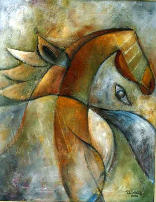 Atlı Kompozisyon, 2006, TÜY, 80 X 63 cm