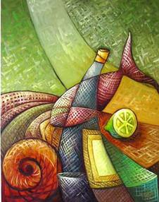 Rakı Şisesinde Balık Olsam-2, 2005, TÜY, 80 X 63 cm