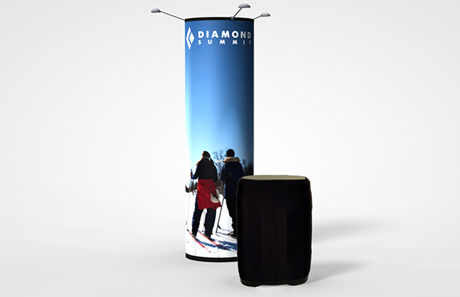 Round Graphic Pop-Up Display Tower
