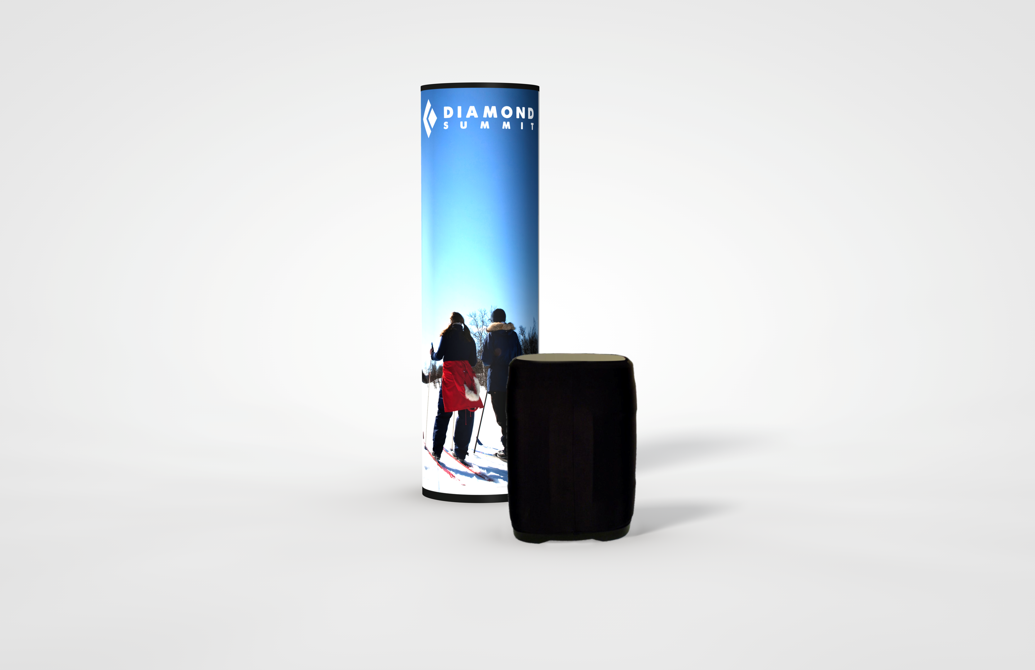 Round Backlit Graphic Pop-Up Tower