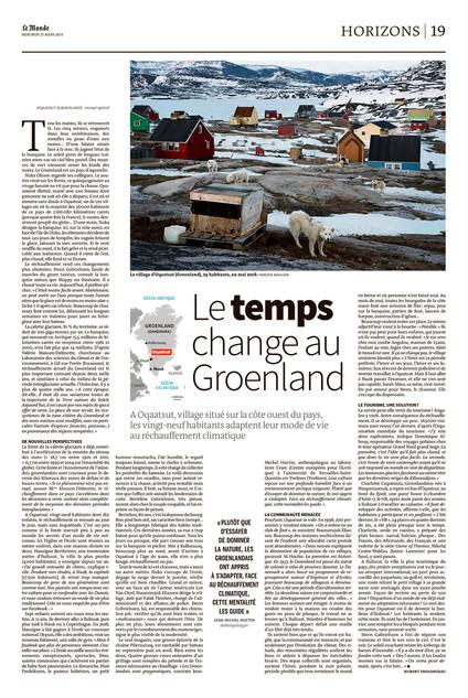 Le temps change au Groenland. Le Monde
