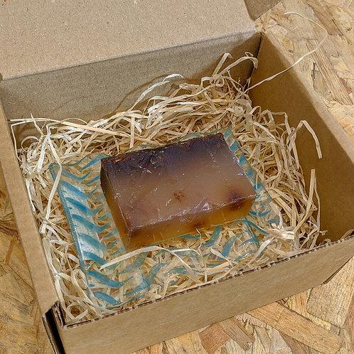 Handmade Glass Soap Dish and Alter/native Glycerine Soap