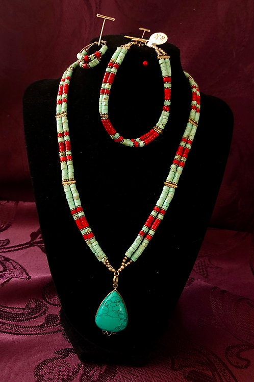 Coral and Turquoise Set