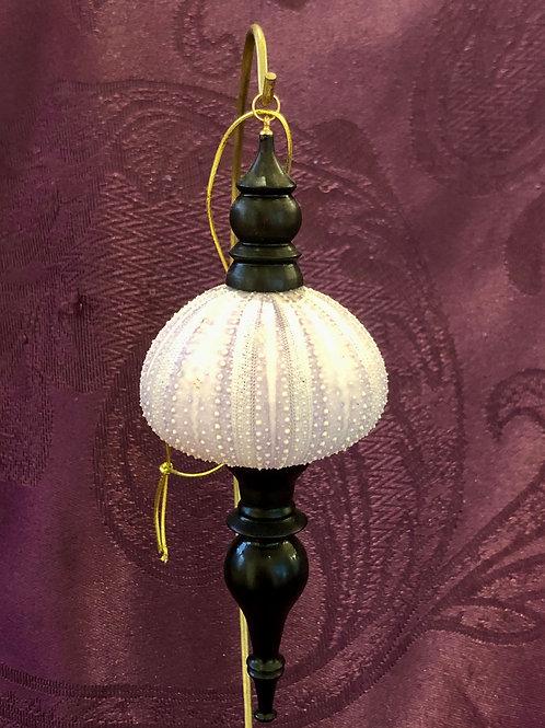 Purple Sea Urchin Ornament with African Blackwood