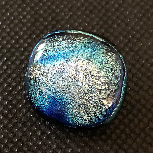 Silver/Blue Round Glass Snap Bead