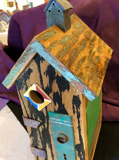 Wood and Clay Birdhouse
